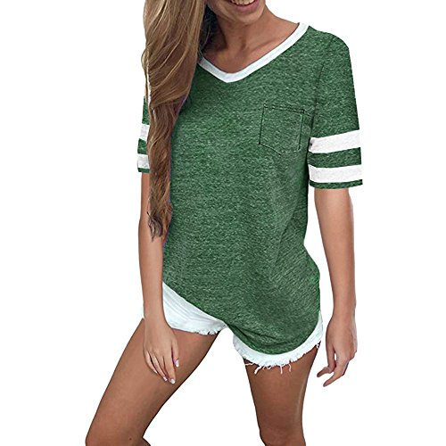 Momoxi Damen Sommer Casual V-Ausschnitt Kurzschluss Hülsentaschen Bluse übersteigt T-Shirt Top Shirt Grün L