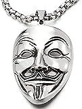 QAZXCV Acero Inoxidable Máscara De Payaso Collar Colgante Hombres Mujeres con 30 Pulgadas De La Cadena De Trigo