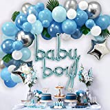 Ola Memoirs Premium Baby Shower Decorations for Boy, Balloon Arch Kit Blue Garland with Faux Greenery, Silver Star, Grey, White Balloon, Baby Boy Theme Decoration Kits, Boys Decor Backdrop Supplies Pack