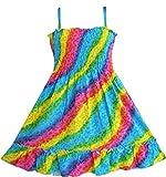 Sunny Fashion Girls Dress Rainbow Smocked Halter Size 9-10