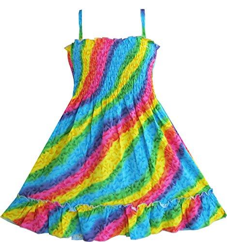 Mädchen Kleid Regenbogen Smok Halfter Gr.116-122