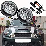 Mini Cooper Led Rally Driving Lights - NSLUMO Car Led Projector Lamp Daytime Running Light with Halo Ring Daylight Kits For Mini Cooper F55 F56 F57 2014-2016 Daytime Driving Led Lamp Halo Fog Lamp