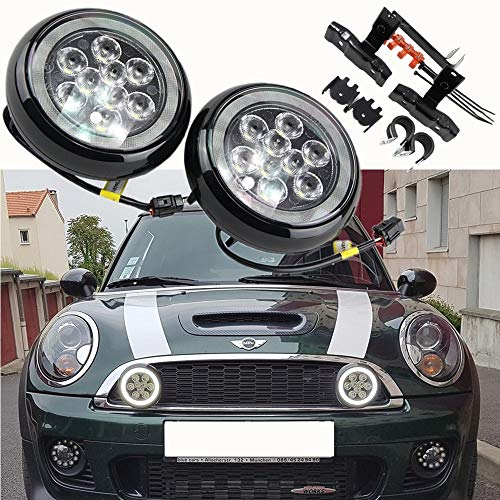 Mini Led Rally Driving Lights - NSLUMO Car Led Projector Lamp Daytime Running Light with Halo Ring Daylight Kits For MiniCooper F55 F56 F57 2014-2016 Daytime Driving Led Lamp Halo Fog Lamp