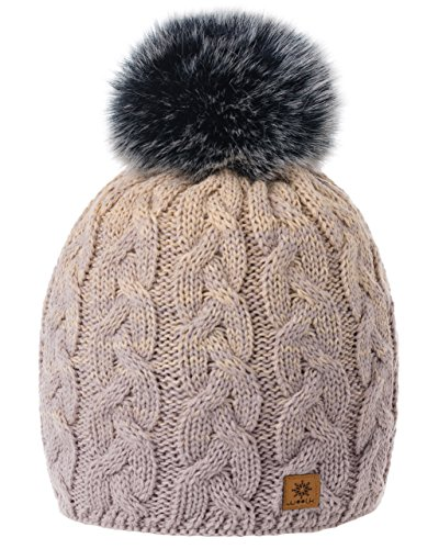 MFAZ Morefaz Ltd MFAZ Morefaz Ltd Damen Herren Winter Beanie Strickmütze Mütze Wurm Fleece Bommel Fashion SKI (Cacao Beige)