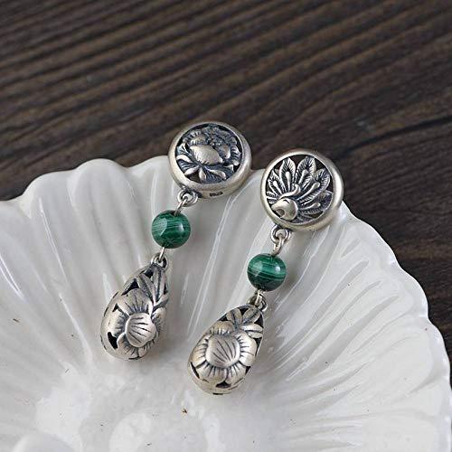 ESCYQ Women Earrings,925 Sterling Silver Mosaic Malachite Peony Flower Pendant Design for Women Earrings Simple Temperament Accessories Friends Dance Party Dinner Gifts
