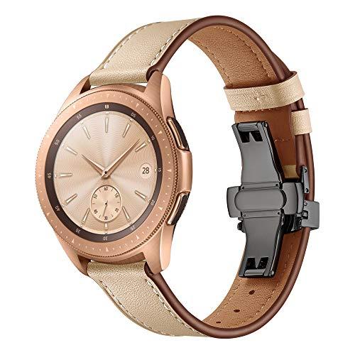 Dee Plus 20mm Cuero Correa de Reloj Samsung Galaxy Watch 42mm Genuino Cuero Banda Pulsera/Gear S2 Classic/Huawei Watch 2, Correa de Piel Genuina de Hebilla de Acero Inoxidable de liberación rápida