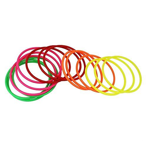 JTDEAL [15 Stück] Wurfringe, Ringwurfspiel, Ringspiel Koordinationsreifen für Innen und draußen, 5 Farben, 14.5cm