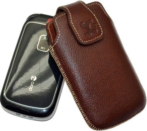 Original Suncase Tasche für / Panasonic KX-TU349 EXNE / Leder Etui Handytasche Ledertasche Schutzhülle Hülle Hülle / in vollnarbiges-braun