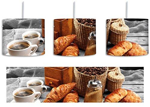 Aromatischer Kaffee mit Croissant Schwarz/Weiß inkl. Lampenfassung E27, Lampe mit Motivdruck, tolle Deckenlampe, Hängelampe, Pendelleuchte - Durchmesser 30cm - Dekoration mit Licht ideal für Wohnzimmer, Kinderzimmer, Schlafzimmer