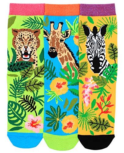 Oddsocks ANNIE 3er Set bunte Socken, Giraffe, Tiger, Zebra Gr.37-42
