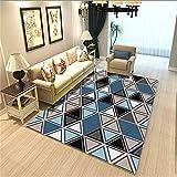 Alfombra Pasillo Larga Alfombra Azul, patrón de triángulo geométrico, Aislamiento acústico, Mecanismo Simple, Alfombra Moderna alfombras recibidor -Azul_El 160x230cm