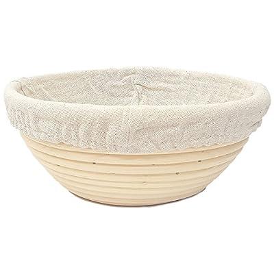 Happy Sales HSPB-85WL, Round Proofing Basket Banneton Brotform 8.5 Inch w/LINER