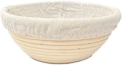 Happy Sales HSPB-10WL, Round Proofing Basket Banneton Brotform 10 inch w/LINER