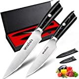 MOSFiATA 5' Professional Chef's Knife and 3.5' Fruit Knife set, German High Carbon Stainless Steel 4116 Kitchen Knife with Knife Blade Protector and Micarta Handle in Gift Box