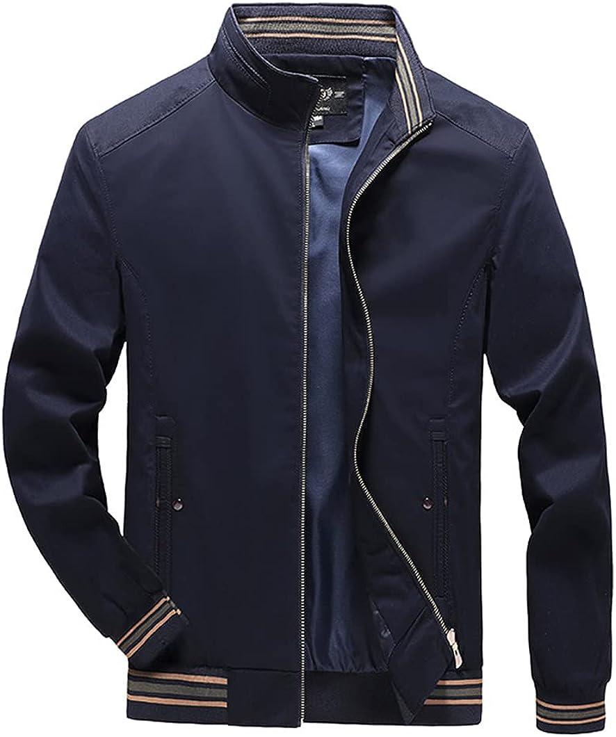 Autumn Men's Jacket Cotton Coat Slim Fit Turn Down Collar Zipper Business Jacket
