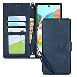 JWS-C Samsung Galaxy A71 A715F 4G Case Wallet Leather with Card Holder Shockproof Protective Flip Case Men for Samsung Galaxy A71 4G-Blue