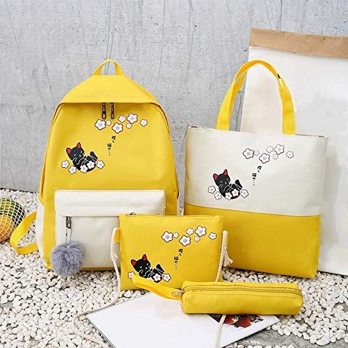 FastDirect Zaino da donna piccolo fresco e carino gatto zaino scuola junior scuola scuola studente borsa quattro pezzi set giallo
