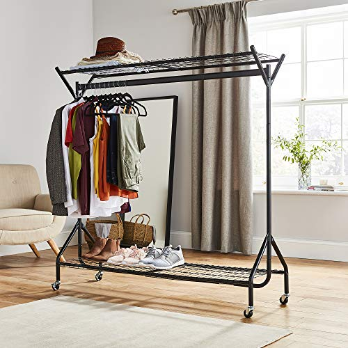 Direct Online Houseware Heavy Duty Clothes Rail 4ft/5ft/6ft With Shoe Rack Shelf And Hat Rack (Metal Construction) (5ft Long x 5ft High)
