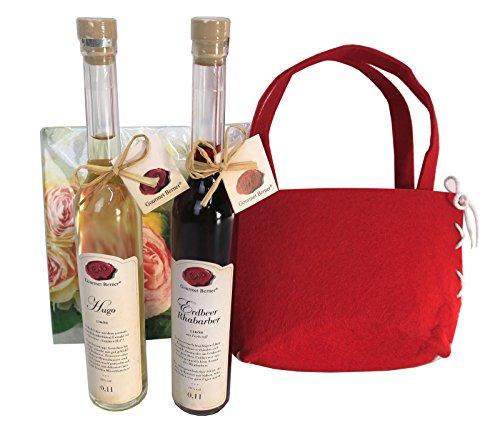 Gourmet Berner Geschenkset Erdbeere Rhabarber Likör 0,1 l und Hugo 0,1 l in Filzgeschenktasche mit Servietten