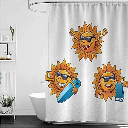 lovedomi Cortina de ducha de dibujos animados con diseño de sol hippie con gafas de sol y tabla de surf, cortina de ducha impermeable de tela de poliéster 183 x 183 cm