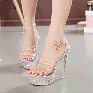 Women Crystal Platform Sandals, Transparent Bride Ankle Heel Pumps Party Evening Wedding Sandals