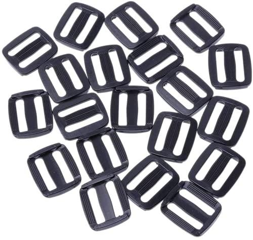 HCXIN Hebillas de plástico para correas, color negro, curvas, tri-Glide Slider ajustable, hebilla de escalera, regulador, tope de ajuste para bolsas, correa de cinturón (25 mm)
