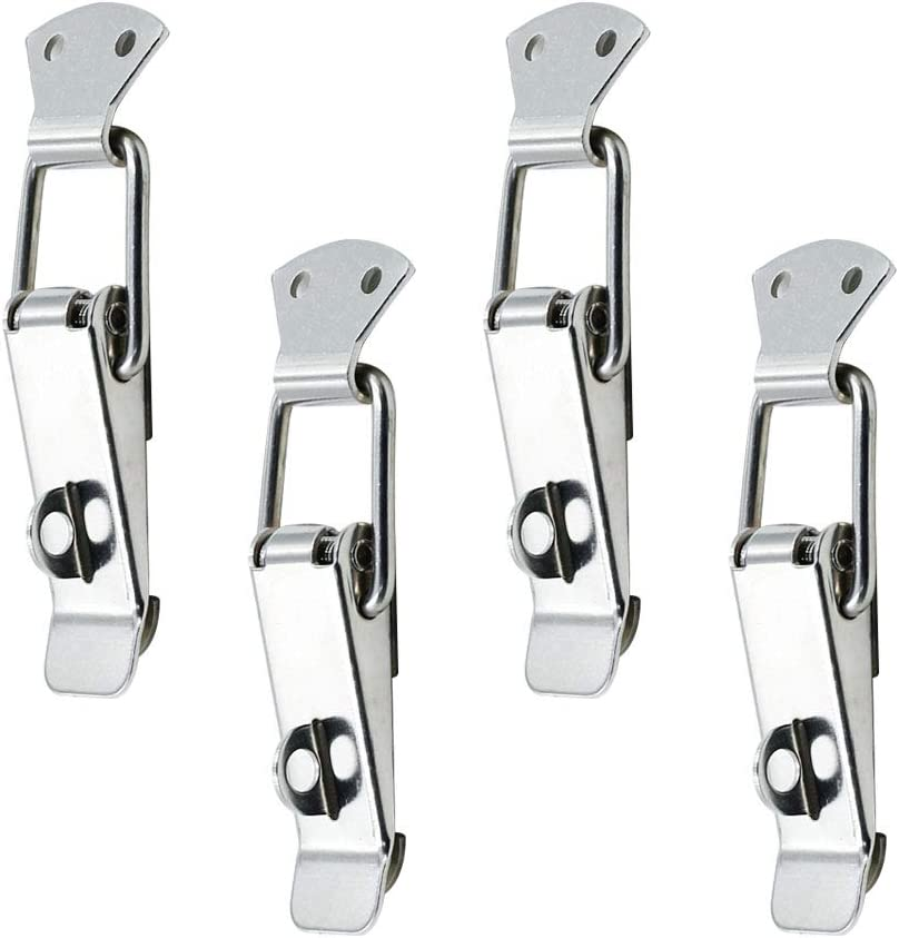 Small Size, 74mm// 2.9 BTMB 8pcs Stainless Steel Spring Loaded Toggle Trunk Case Box Chest Latch Catches Hasps Clamps