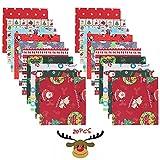 OUYANKA 20pcs Navidad Tela De Algodón Telas Patchwork 25 x 25 cm Tela Algodon Navidad Tela Navideña para Manualidades de Costura de Navidad