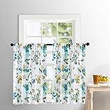 MRTREES Tier Curtains 24 inch Length Sheer Flower Leaf Printed Kitchen Bathroom Cotton Blend Tiers Window Treatment Aqua Blue Floral Print Sheer Cafe Curtains Rod Pocket Set 2 Panels