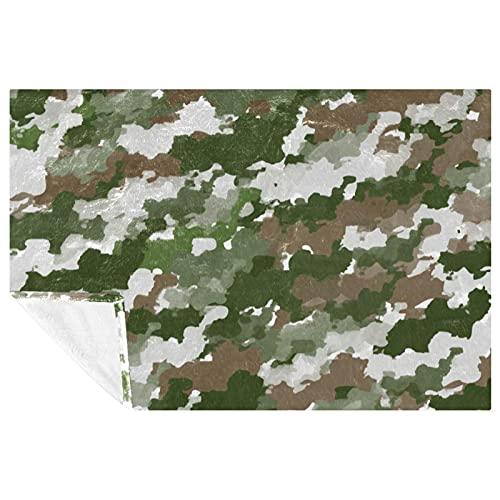 BestIdeas Acuarela camuflaje patrón verde gris impresiones suave cálida manta manta manta para sofá picnic camping playa 150 × 100 cm