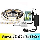 Dual Weiß LED Streifen Lichtband Tunable White 2700K-6000K Kaltweiß & Warmweiß 5M SMD5050 300...