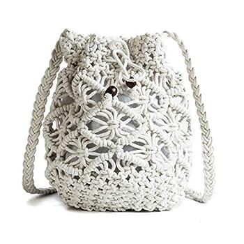Nice Pies Womens Drawstring Crossbody Bag Beach Handwoven Purse Small Straw bucket bag retro woven hollow shoulder Messenger bag White 17 17 17 cm/6.76.76.7 in