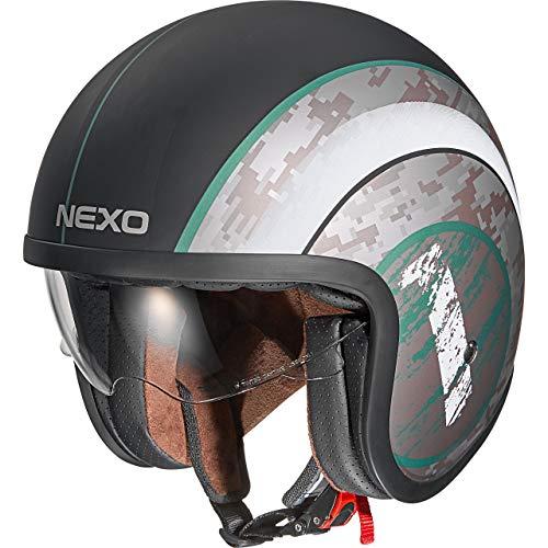 Nexo Jethelm Motorradhelm Helm Motorrad Mopedhelm Urban Style, Ratschenverschluss, herausnehm-, waschbare Wangenpolster, 1.050 g, Prüfung: ECE 22/05, Thermoplast, verschiedene Designs, XS - XL