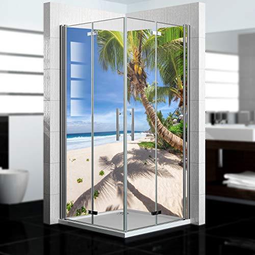 dedeco Eck-Duschrückwand wasserfest mit Strand Motiv - 2 x 90x200 cm, als Badrückwand zum Fliesenersatz, als Dekorwand, Wandverkleidung und Duschplatte aus hochwertigem Aluminium - Made in Germany