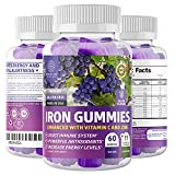 N1N Premium Iron Gummies with Multivitamins for Kids and Adults [11 Powerful Ingredients] All Natural Iron Supplement to Boost Energy,Immunity & Brain Functions, 60 Gummies