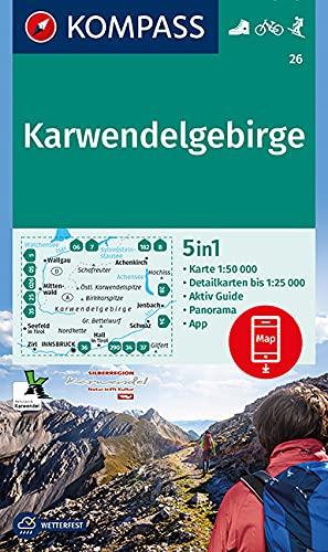 KOMPASS Wanderkarte Karwendelgebirge: 5in1 Wanderkarte 1:50000 mit Aktiv Guide, Detailkarten und Panorama inklusive Karte zur offline Verwendung in ... Skitouren. (KOMPASS-Wanderkarten, Band 26)