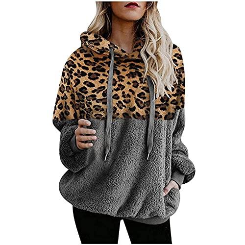 Sudadera con capucha para mujer, informal, de invierno, cálida, con estampado de leopardo, de manga larga, con capucha, con cordón, gris, L