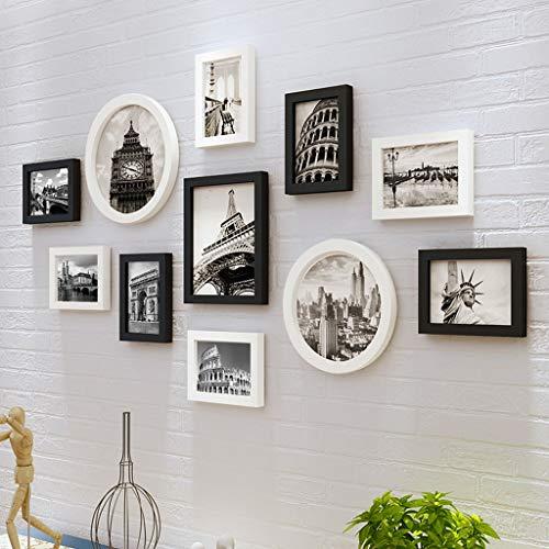 QX IAIZI Fotobehang fotolijst Collage Gallery Kit Combinatie Achtergrond Muur, Effen Hout Nordic Woonkamer Slaapkamer Mediterraans Creatieve Fotowand Combinatie