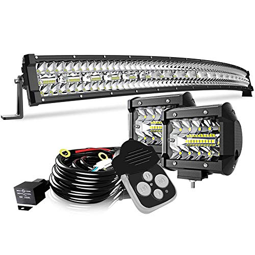42Inch LED Light Bar Curved DakRide Triple Row 780W Flood Spot Combo Beam Off Road Lights 2pc 4inch 60W Spot Driving Fog Lights with Remote Control Switch Harness for Trucks ATV UTV Jeep Boat Pickup