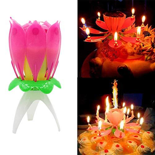 Led Sin Llama Lotus Candle Wax Single Layer Magic Musical Happy Birthday Romantic Flowers Light Cake Wedding Kids Party Diy Decoración Regalos