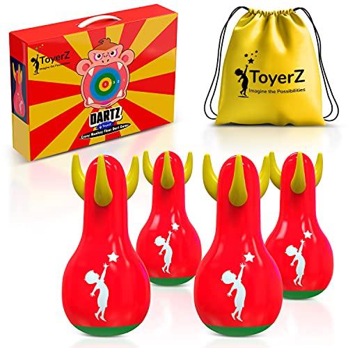 ToyerZ DARTZ, 4 Freccette Gonfiabili da Prato. Tiro al Bersaglio Giochi all'aperto o en Casa per Divertimento in Famiglia . Giochi da Giardino e da Prato per Bambini e Adulti