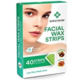 Facial Wax Strips by ShineMore - Facial Hair Removal For Women - Gentle and Fast-Working for Face, Eyebrow, Upper Lip, Chin - For All Skin Types (40 Wax Strips + 4 Calming Oil Wipes)