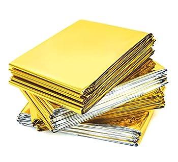 Tenquan [Lot de 10] 210 x 160 cm Extra Large Couverture de secours en aluminium doré imperméable en Mylar Couverture de survie Chauffage pour le camping, la randonnée