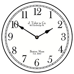 Black Tie Wall Clock, Available in 8 Sizes, Most Sizes Ship 2-3 Days, Whisper Quiet.
