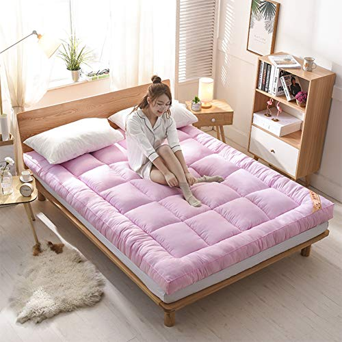 HM&DX Grueso Plegable Colchón futon, Colchón Suelo Tatami Acolchado Cómodo Antiescaras Colchón Sofa Cama Dormitorio Alcoba -Rosado 150x200cm(59x79inch)