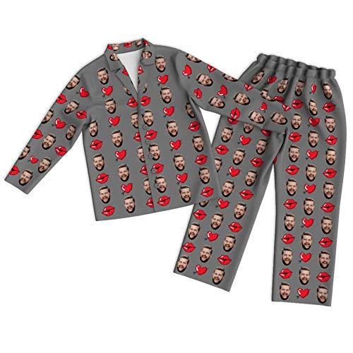 keUiy Set Pigiama Personalizzato con Foto per Coppia Pigiama per San Valentino,Pigiami da Notte a Maniche Lunghe Divertenti,Completo da Abbinare alla Famiglia,vestitocoppia Casual Confortevole S-3XL