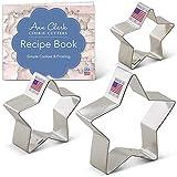 Ann Clark Cookie Cutters Juego de 3 cortadores de galletas estrella con libro de recetas - 5,1 cm, 7cm y 8,9 cm