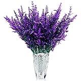 Artificial Lavender Flowers,8pcs Plastic Faux Flowers Plants Bouquets, UV Resistant Faux Flowers Plants, Fake Flowers Decorations for Home, Bedroom, Garden, Office, Table Deco(Purple)