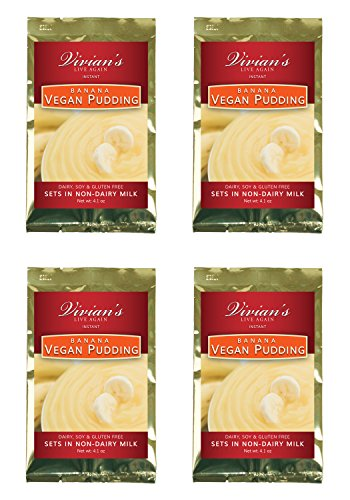 Vegan Instant Banana Pudding- 4 Pack by Vivian's Live Again Dairy Free, Soy Free, Gluten Free
