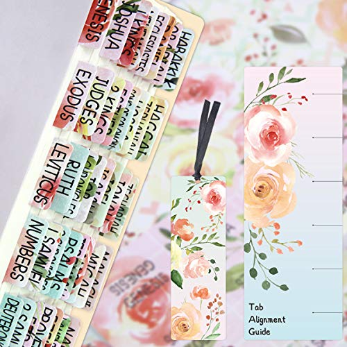Floral Bible Tabs 90 Decorative Bible Tabs Laminated Colorful Bible Book Indexing Tabs Old and New Testament Laminated Matte Film Pretty Gift for Women Girls